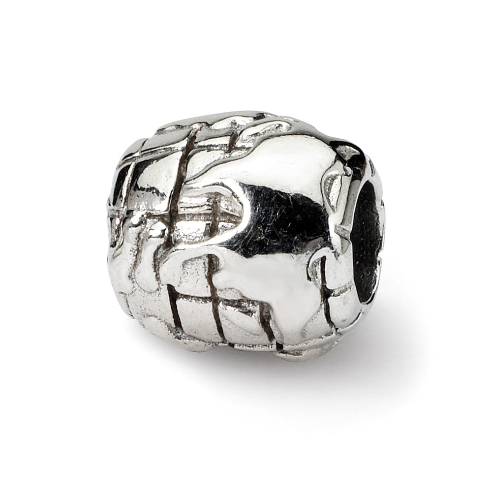 Sterling Silver World Bead Charm, Item B9328 by The Black Bow Jewelry Co.