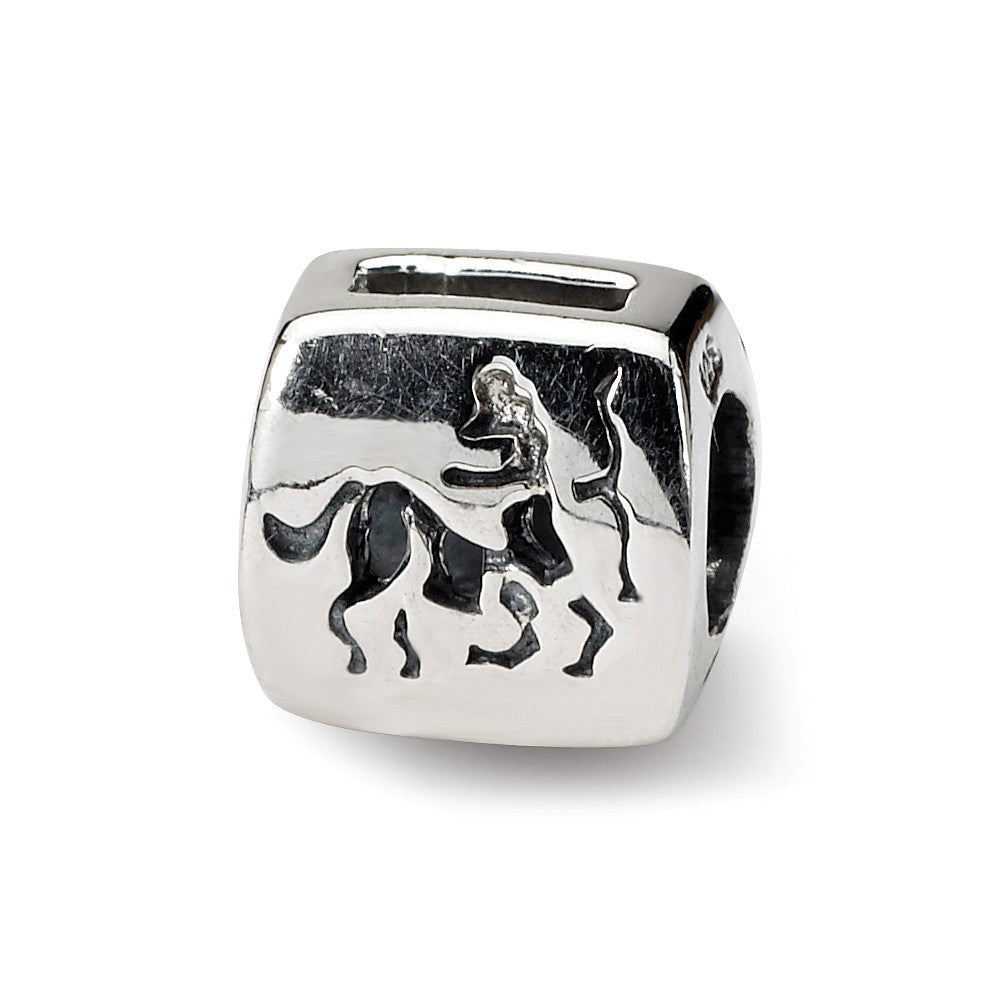 Sterling Silver Sagittarius the Archer Zodiac Bead Charm, Item B9358 by The Black Bow Jewelry Co.
