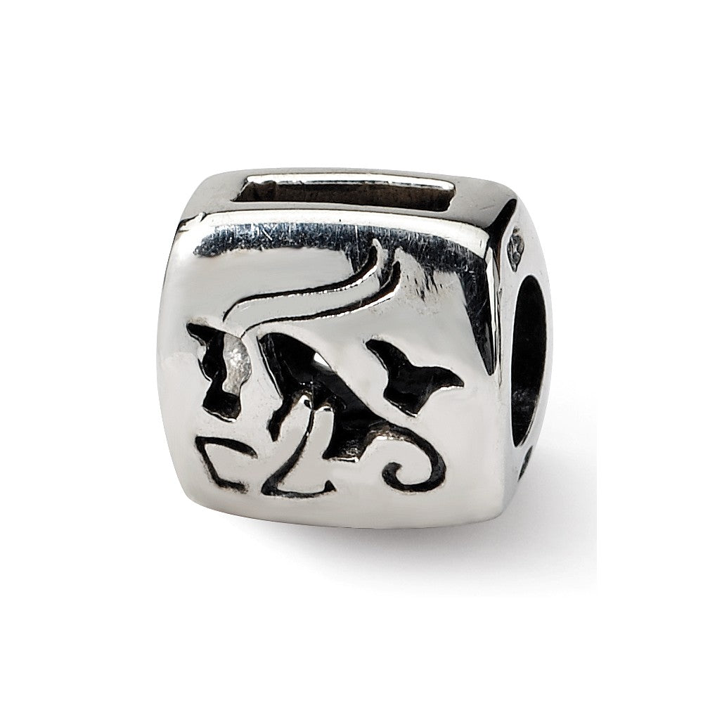 Sterling Silver Capricorn the Goat Zodiac Bead Charm, Item B9359 by The Black Bow Jewelry Co.