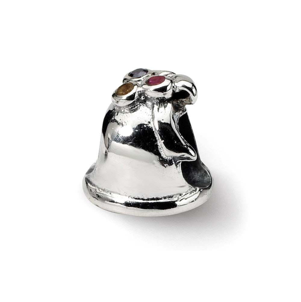 Sterling Silver and CZ Multicolor Festive Bell Bead Charm, Item B9366 by The Black Bow Jewelry Co.