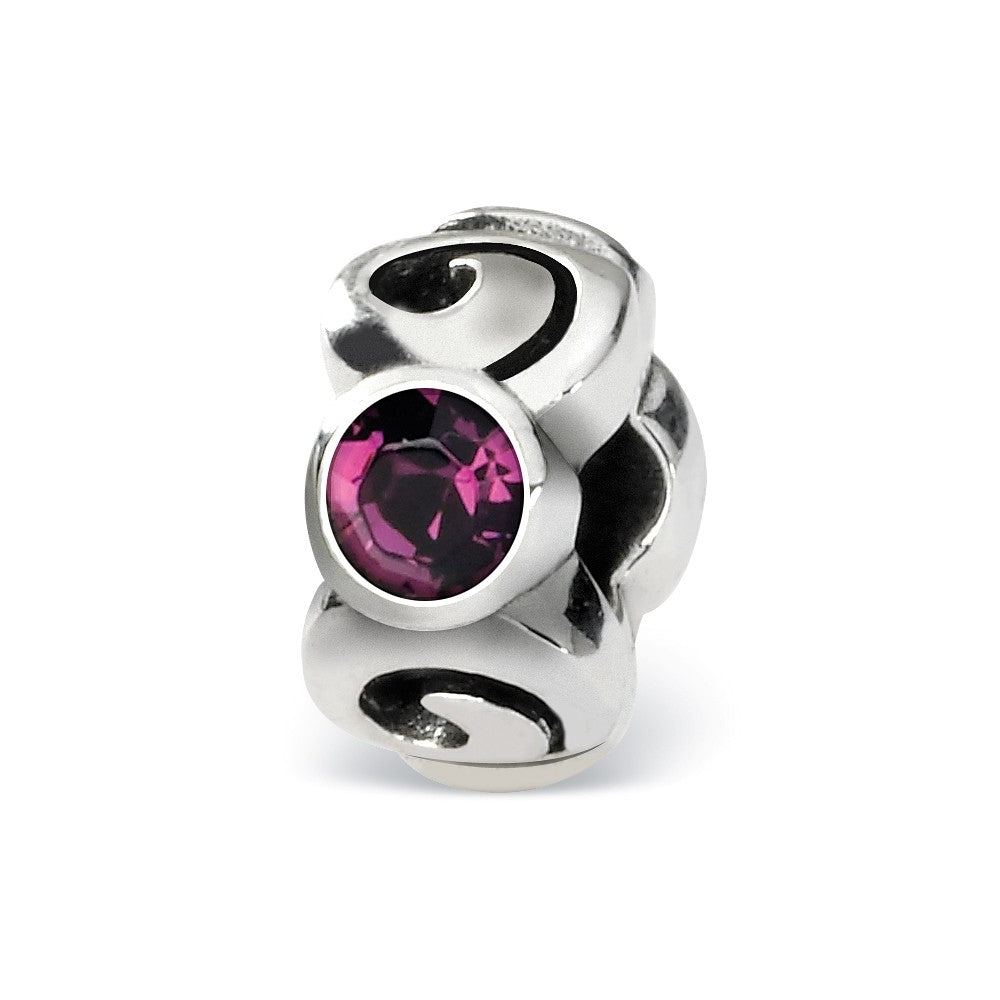 Sterling Silver February Crystal Birthstone, 3-Stone Bead Charm, Item B9461 by The Black Bow Jewelry Co.