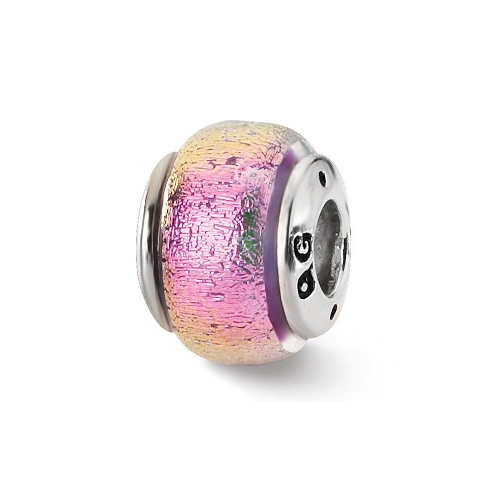 Purple and Pink Dichroic Glass Sterling Silver Bead Charm, Item B9489 by The Black Bow Jewelry Co.