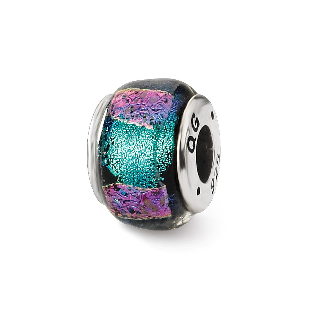 Blue and Purple Dichroic Glass Sterling Silver Bead Charm, Item B9514 by The Black Bow Jewelry Co.