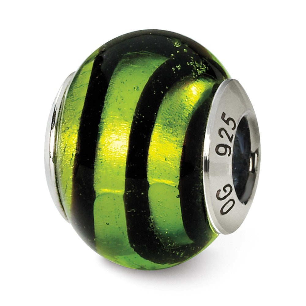 Sterling Silver, Green and Black Striped Murano Glass Charm, Item B9548 by The Black Bow Jewelry Co.