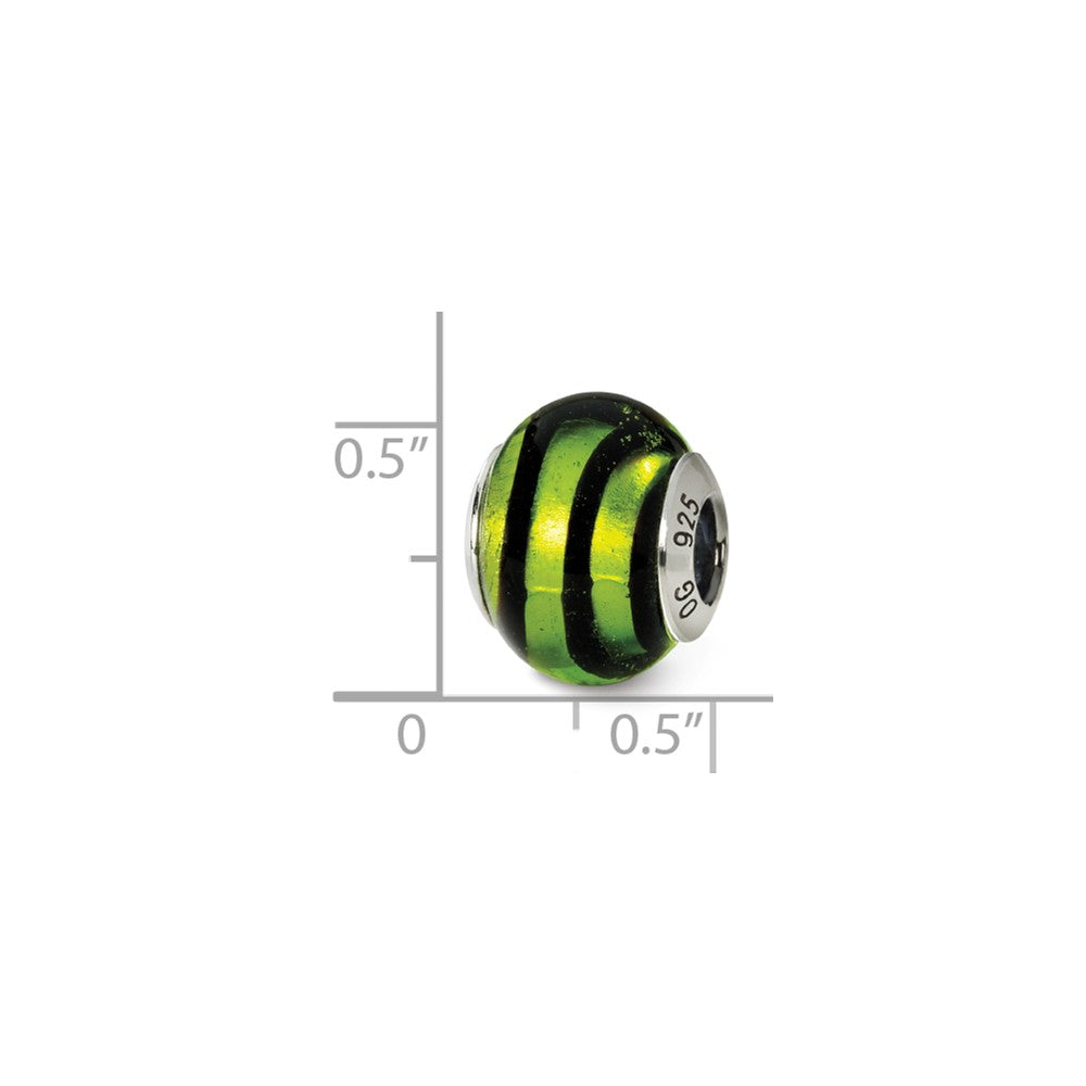 Alternate view of the Sterling Silver, Green and Black Striped Murano Glass Charm by The Black Bow Jewelry Co.