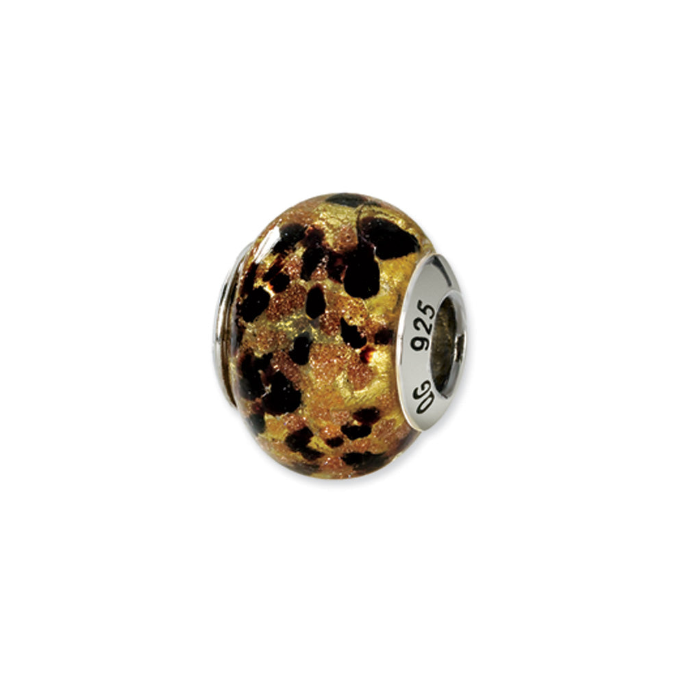 Sterling Silver, Yellow and Black Speckled Murano Glass Charm, Item B9562 by The Black Bow Jewelry Co.