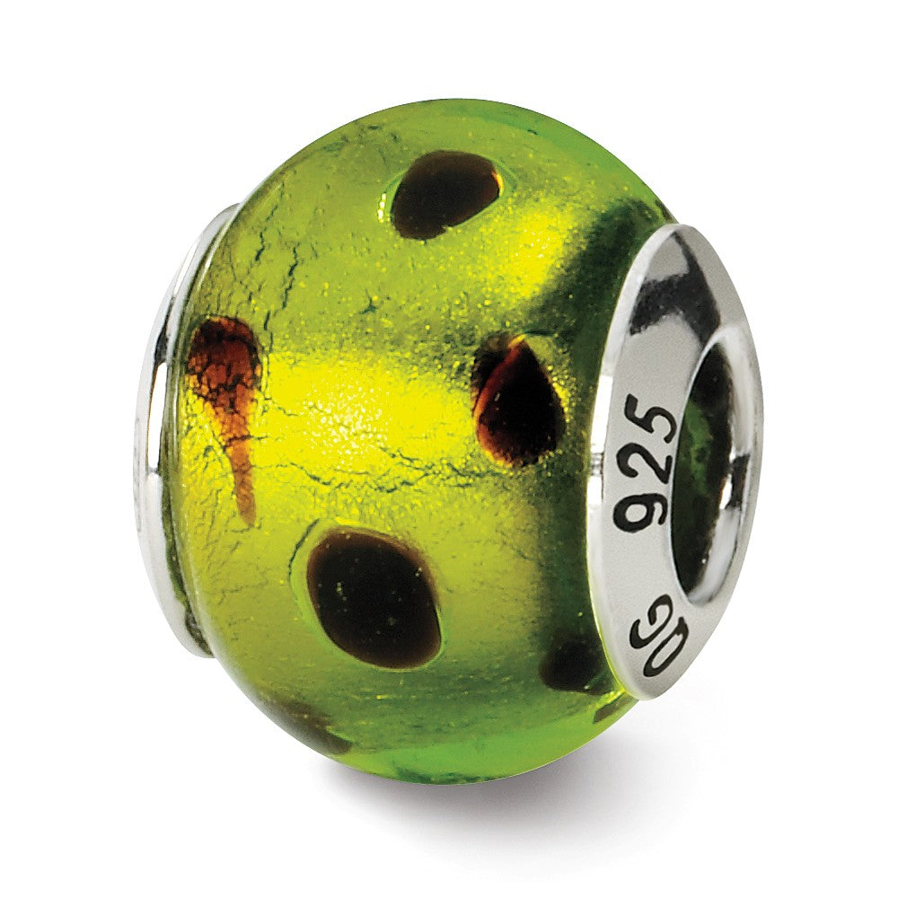 Sterling Silver, Green and Black Spotted Murano Glass Charm, Item B9585 by The Black Bow Jewelry Co.