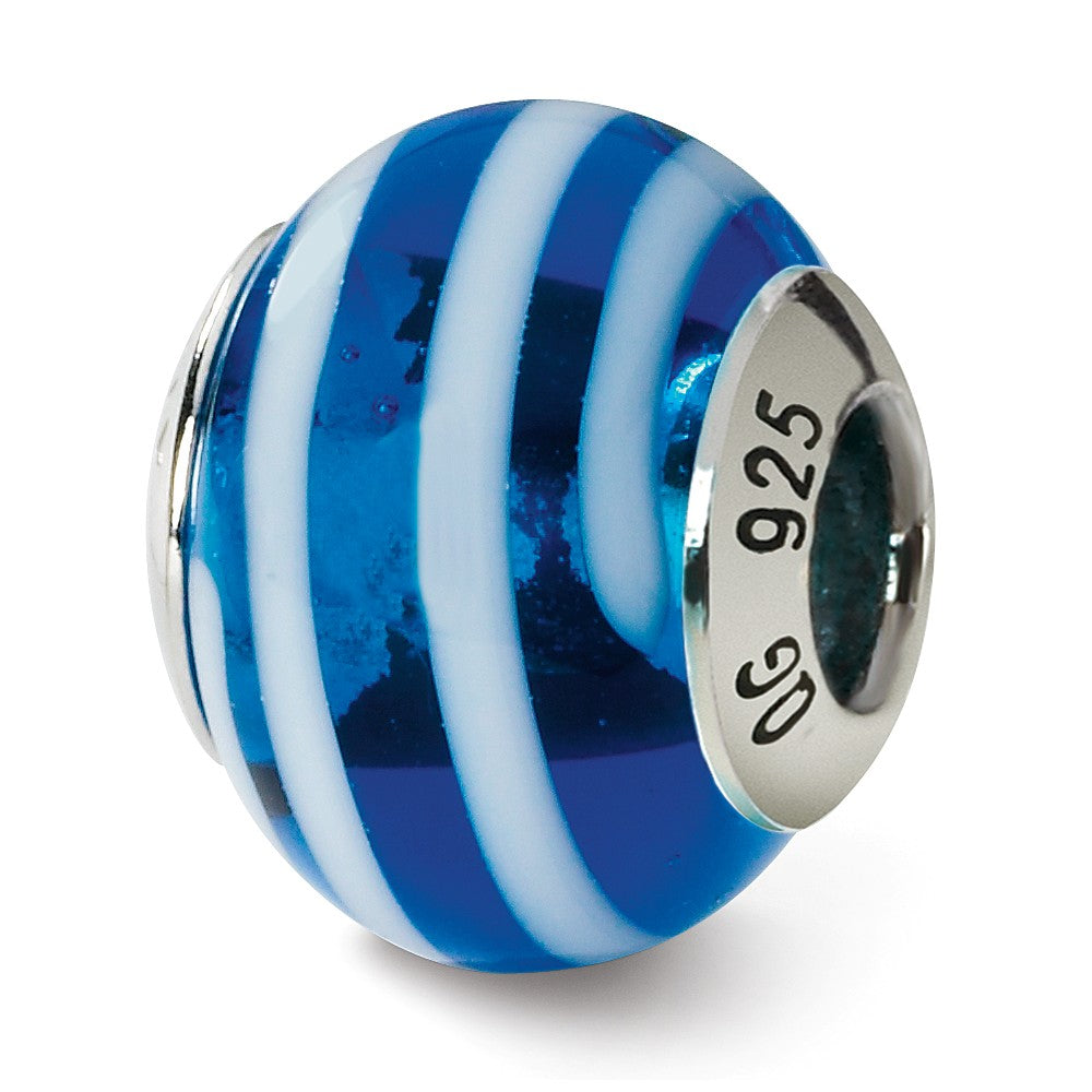 Sterling Silver, Blue and White Striped Murano Glass Charm, Item B9605 by The Black Bow Jewelry Co.