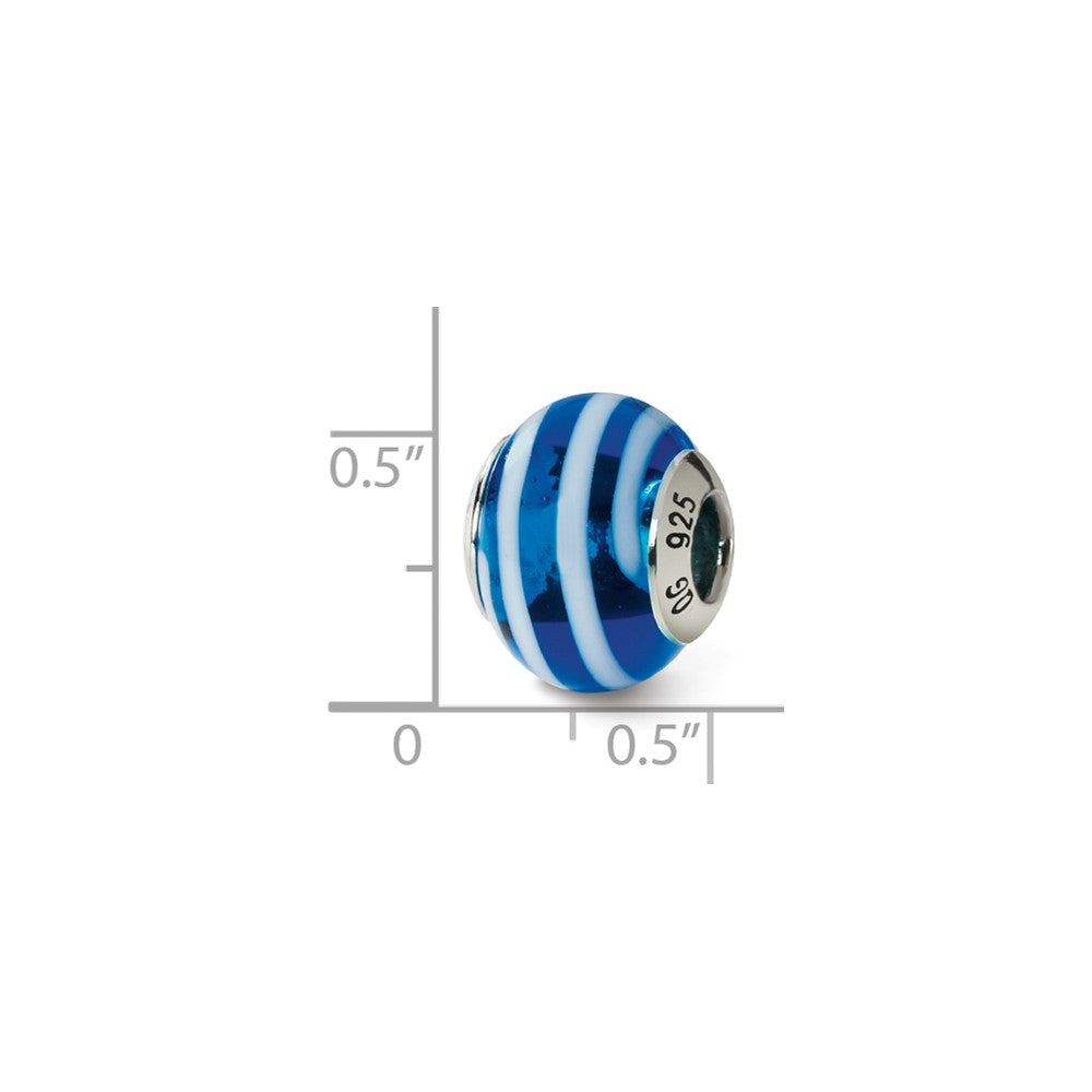 Alternate view of the Sterling Silver, Blue and White Striped Murano Glass Charm by The Black Bow Jewelry Co.