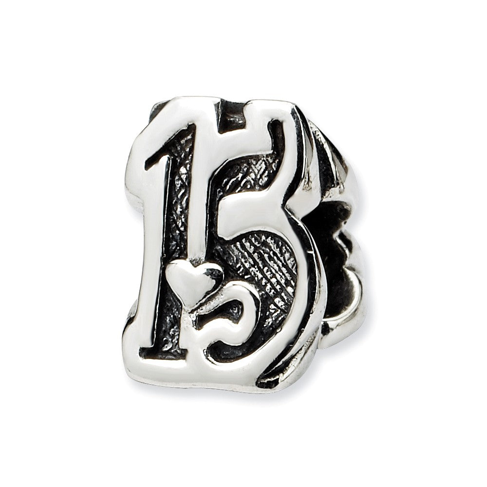 Sterling Silver Special Year Number 15 Bead Charm, Item B9671 by The Black Bow Jewelry Co.