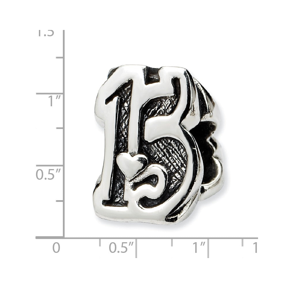 Alternate view of the Sterling Silver Special Year Number 15 Bead Charm by The Black Bow Jewelry Co.