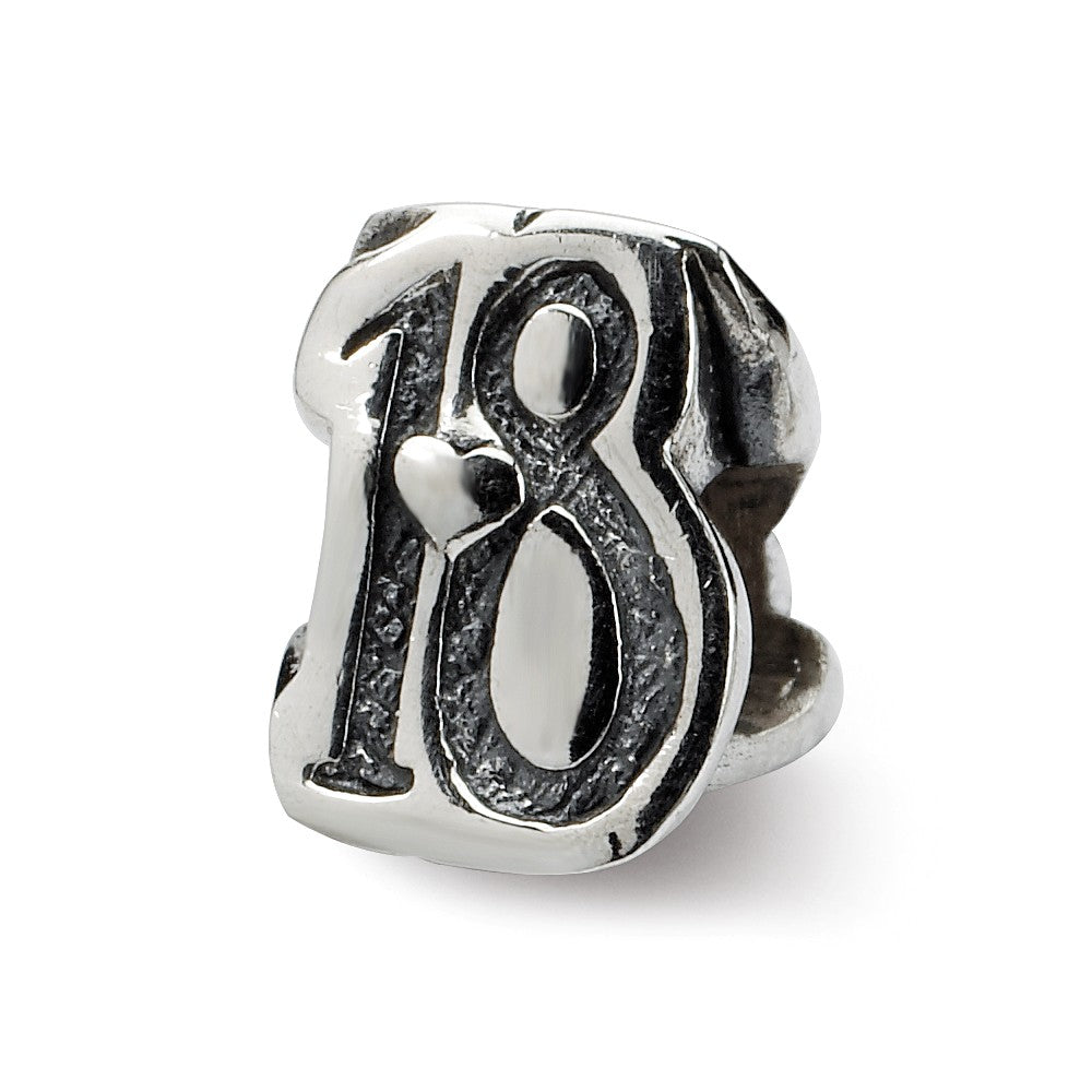 Sterling Silver Special Year Number 18 Bead Charm, Item B9673 by The Black Bow Jewelry Co.