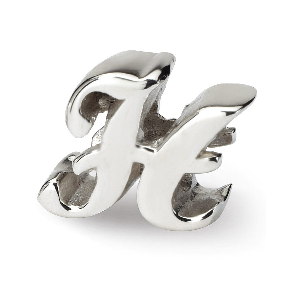 Sterling Silver Script Style, Letter H Bead Charm, Item B9692 by The Black Bow Jewelry Co.