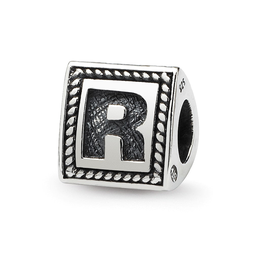 Triangle Block, Letter R Sterling Silver Bead Charm, Item B9728 by The Black Bow Jewelry Co.