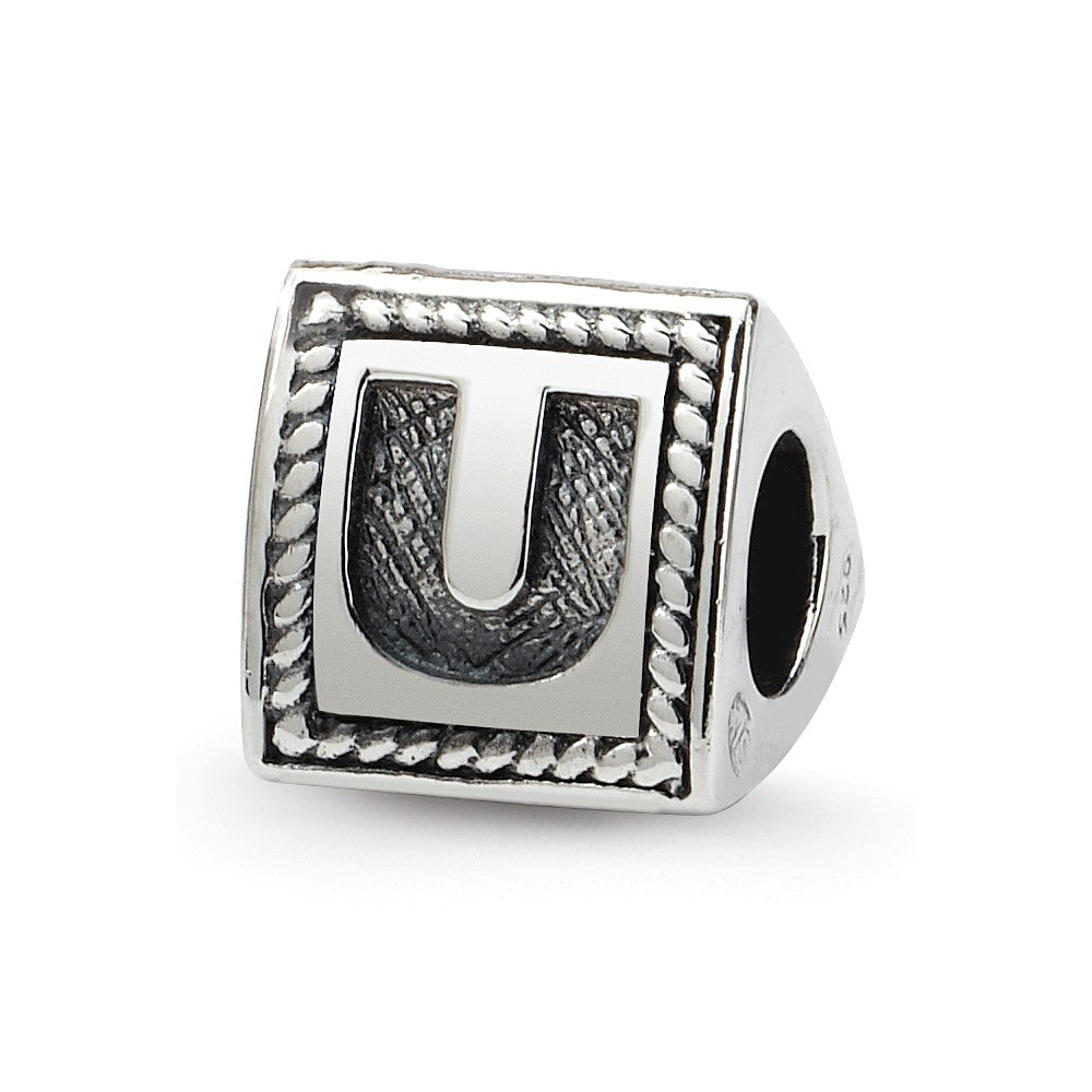 Triangle Block, Letter U Sterling Silver Bead Charm, Item B9731 by The Black Bow Jewelry Co.