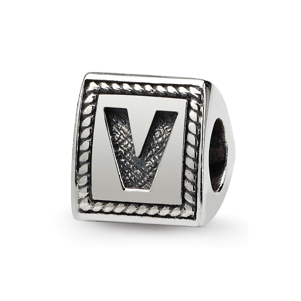 Triangle Block, Letter V Sterling Silver Bead Charm, Item B9732 by The Black Bow Jewelry Co.