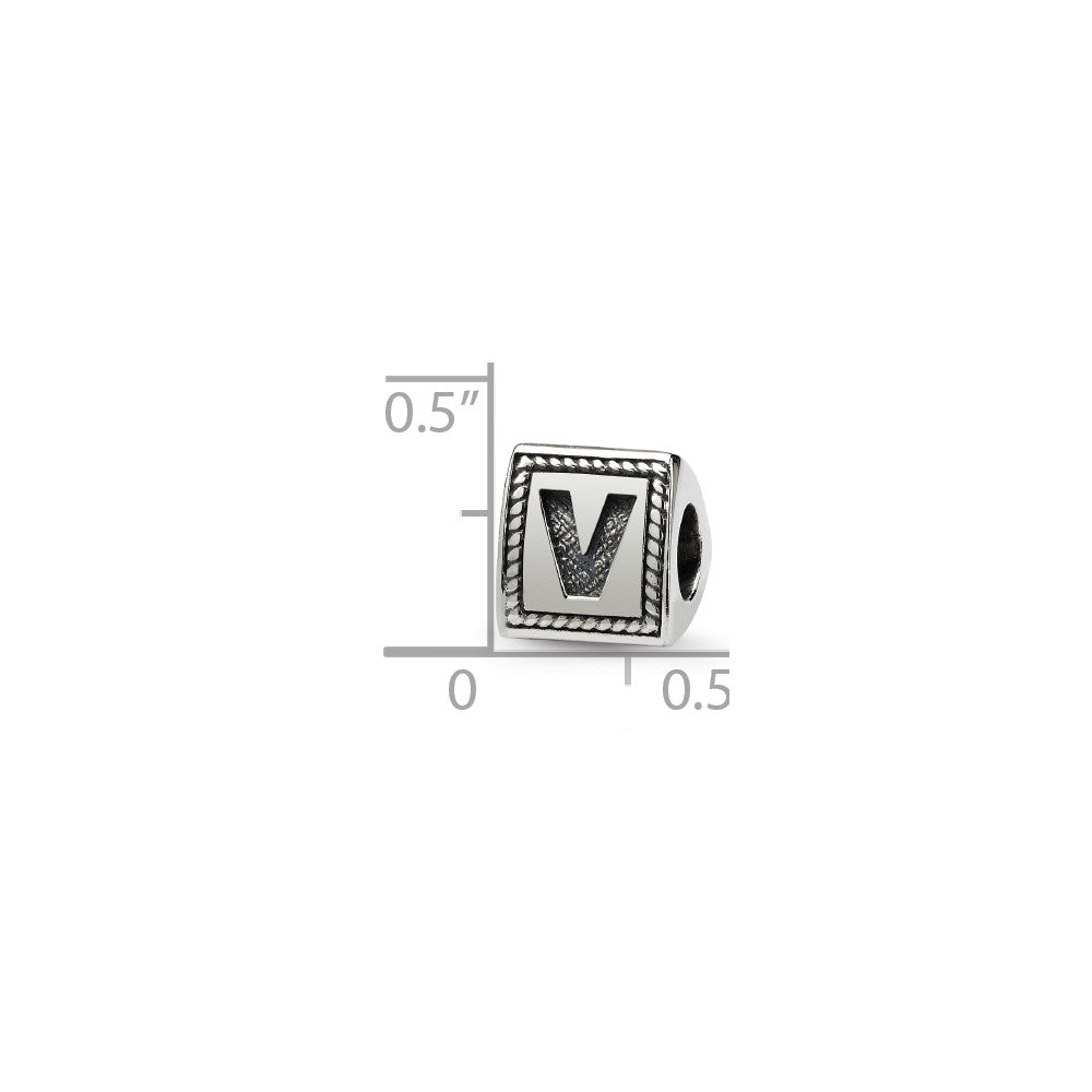 Alternate view of the Triangle Block, Letter V Sterling Silver Bead Charm by The Black Bow Jewelry Co.