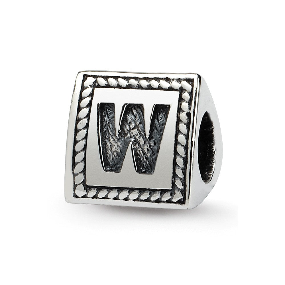 Triangle Block, Letter W Sterling Silver Bead Charm, Item B9733 by The Black Bow Jewelry Co.
