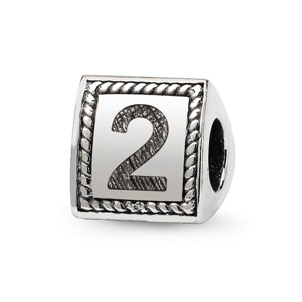 Triangle Block, Number 2 Sterling Silver Bead Charm, Item B9739 by The Black Bow Jewelry Co.