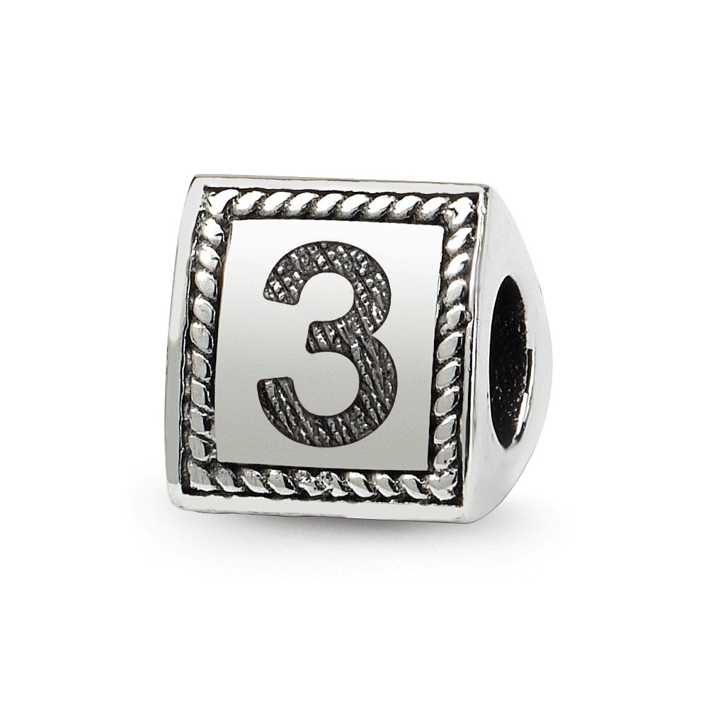 Triangle Block, Number 3 Sterling Silver Bead Charm, Item B9740 by The Black Bow Jewelry Co.