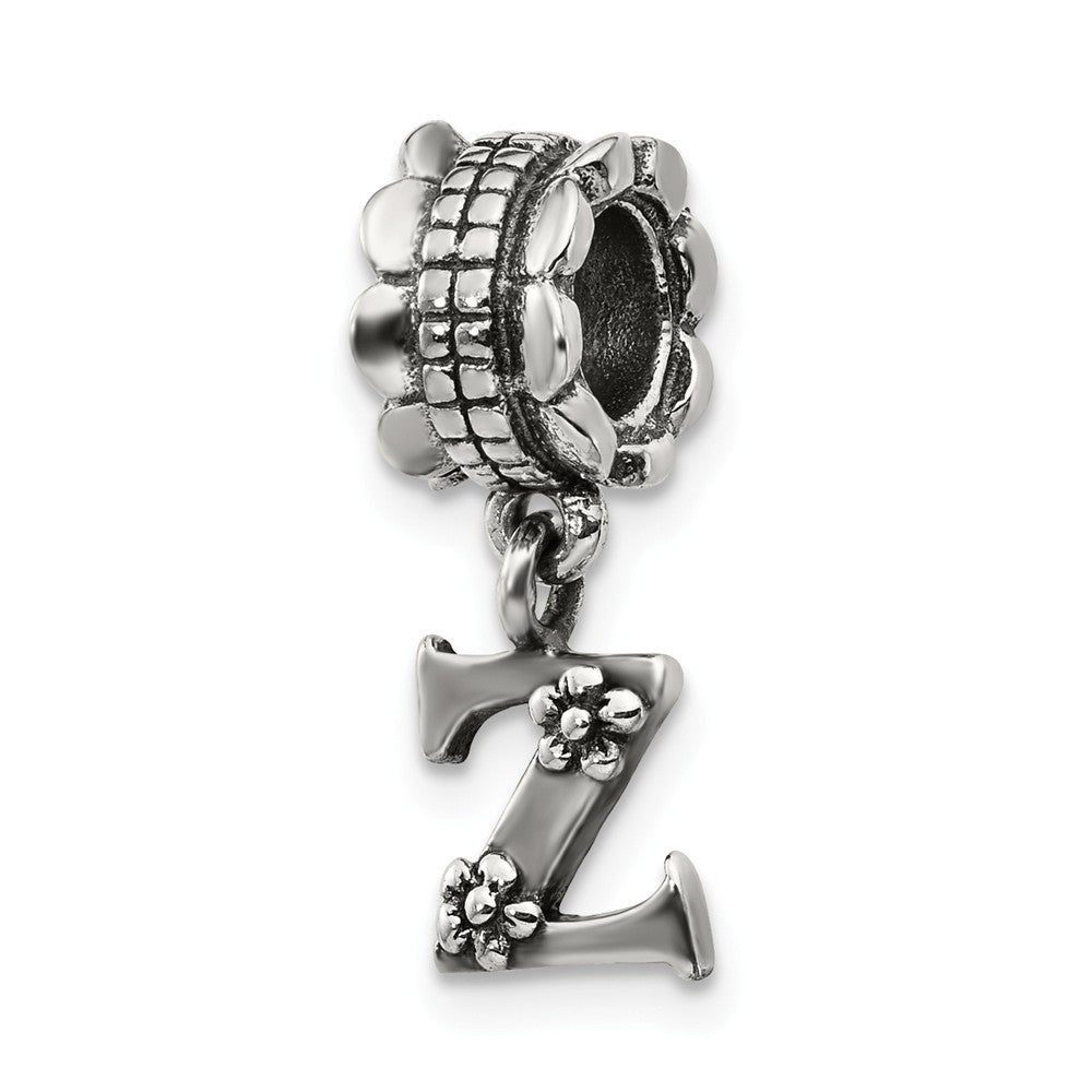 Sterling Silver Letter Z, Dangle Bead Charm, Item B9808 by The Black Bow Jewelry Co.
