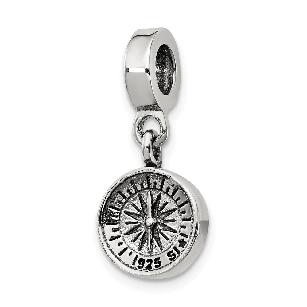 Sterling Silver Compass Dangle Bead Charm, Item B9839 by The Black Bow Jewelry Co.