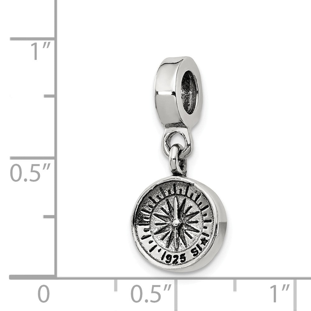 Alternate view of the Sterling Silver Compass Dangle Bead Charm by The Black Bow Jewelry Co.
