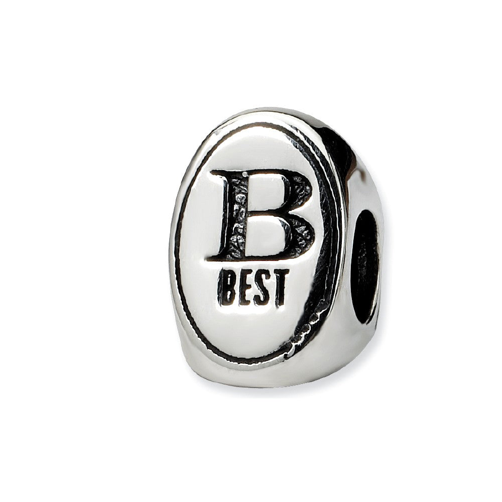 Sterling Silver Best Friends Forever, 3-Sided Bead Charm, Item B9849 by The Black Bow Jewelry Co.