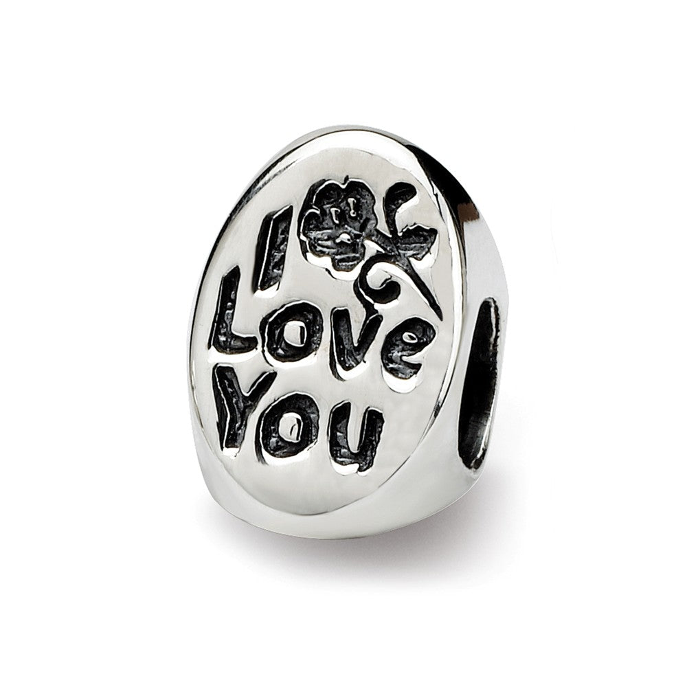 Sterling Silver I Love You Mom 3-Sided Bead Charm, Item B9850 by The Black Bow Jewelry Co.