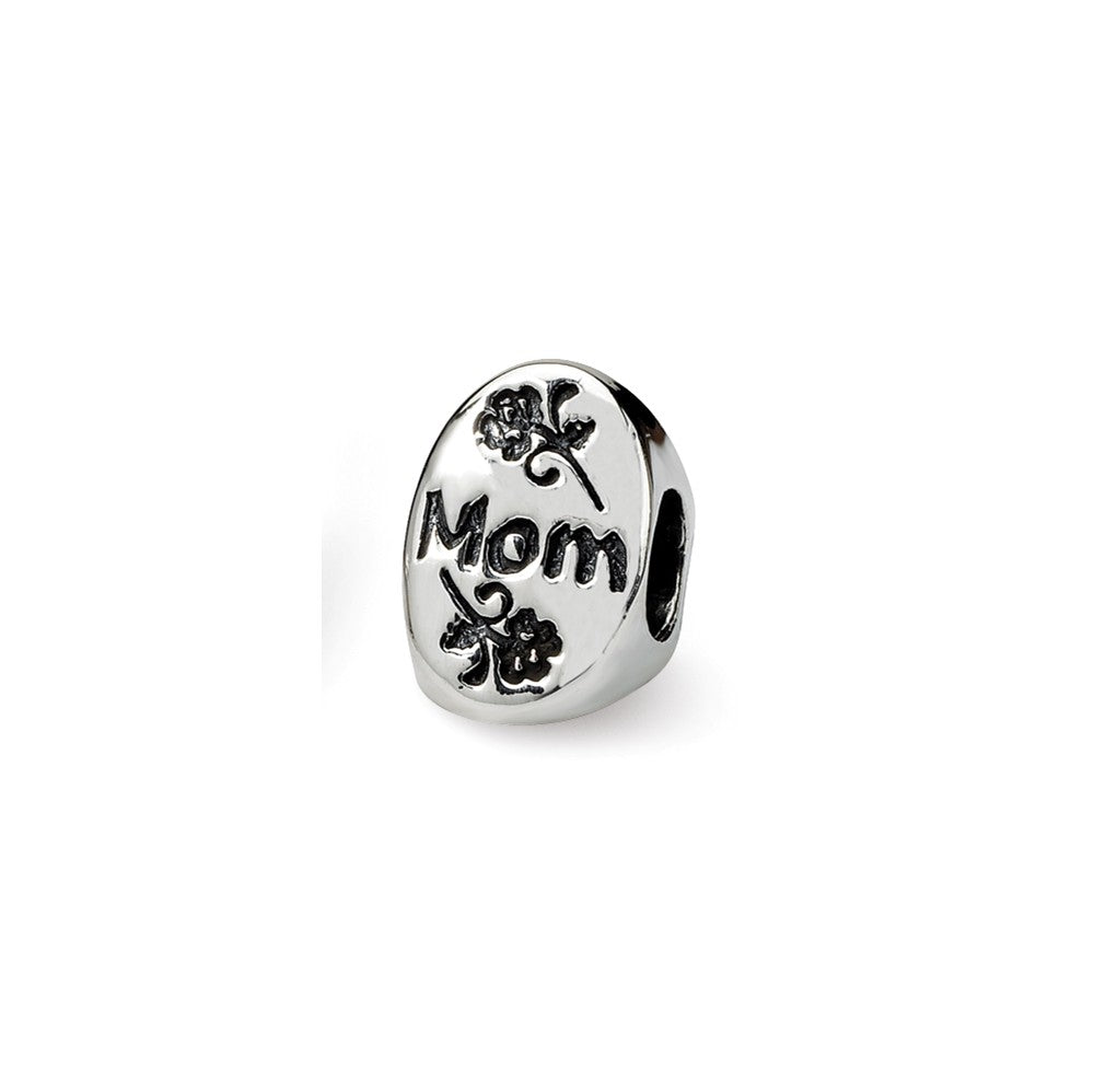 Alternate view of the Sterling Silver I Love You Mom 3-Sided Bead Charm by The Black Bow Jewelry Co.