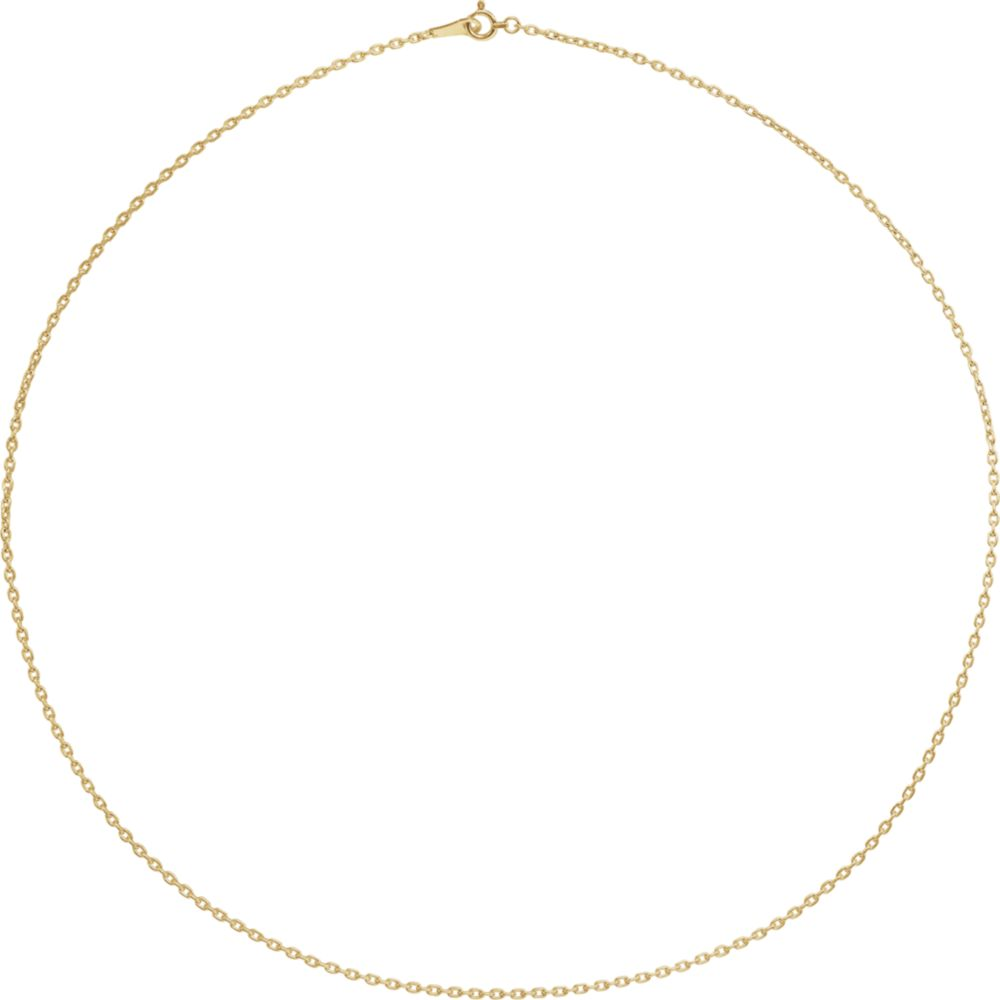Alternate view of the 18k Yellow Gold 1.7mm Solid Cable Chain Necklace by The Black Bow Jewelry Co.