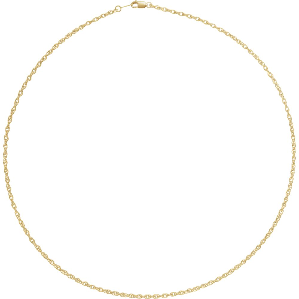 Alternate view of the 18k Yellow Gold 2mm Solid Loose Rope Chain Necklace by The Black Bow Jewelry Co.