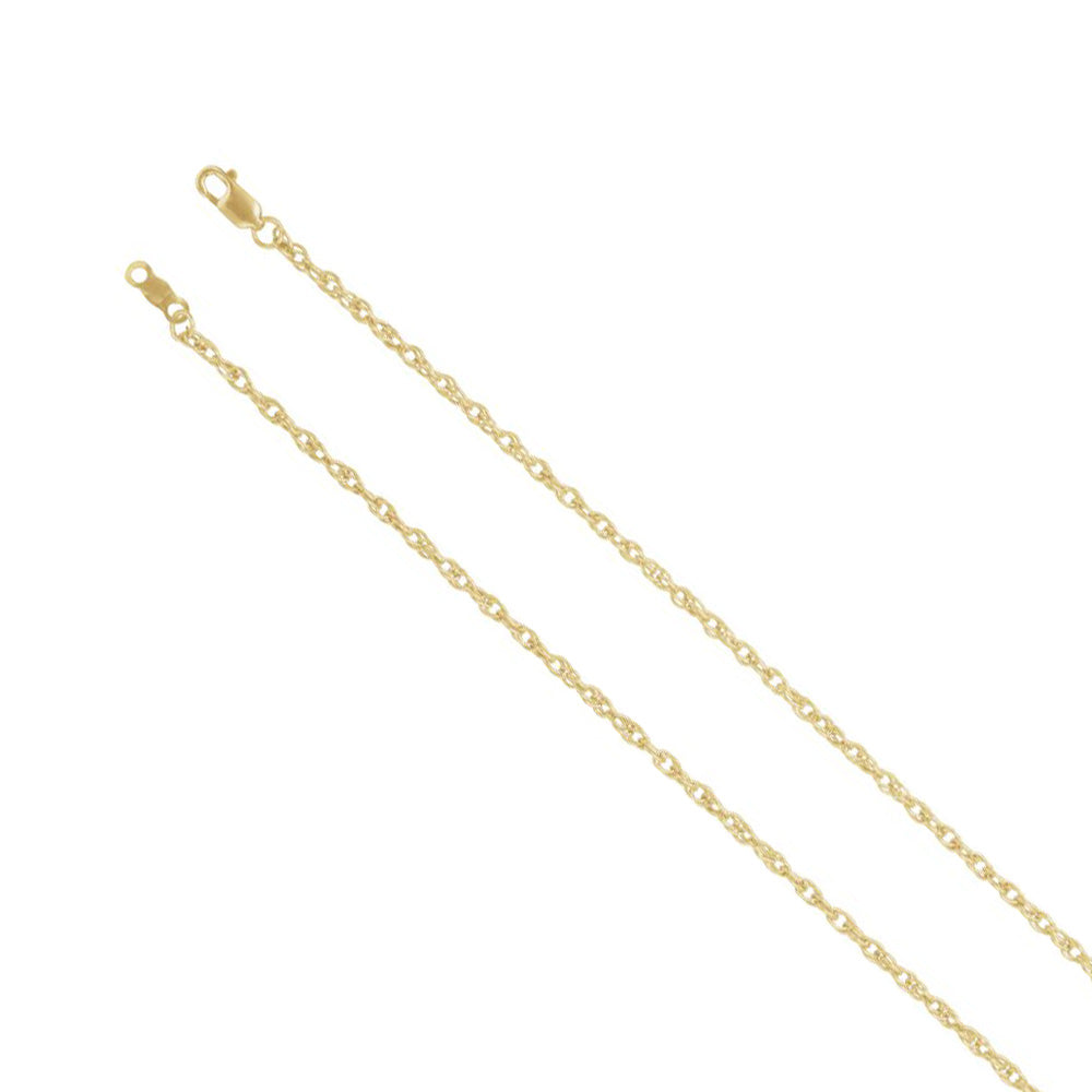18k Yellow Gold 2mm Solid Loose Rope Chain Necklace