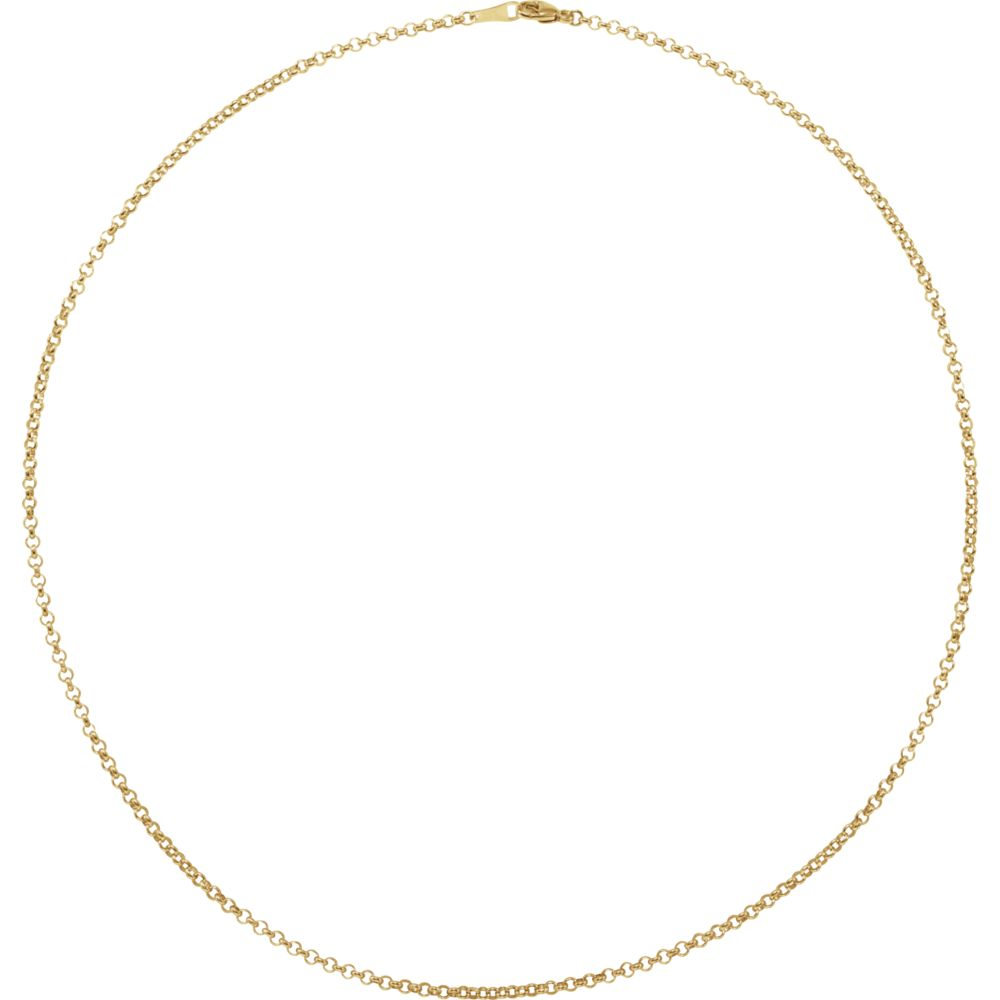 Alternate view of the 18k Yellow Gold 2.4mm Hollow Rolo Chain Necklace by The Black Bow Jewelry Co.