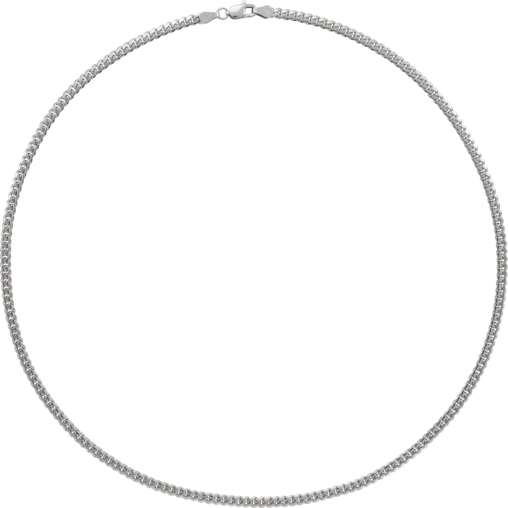 Alternate view of the 14k White Gold 3.25mm Solid Miami Cuban (Curb) Chain Necklace by The Black Bow Jewelry Co.