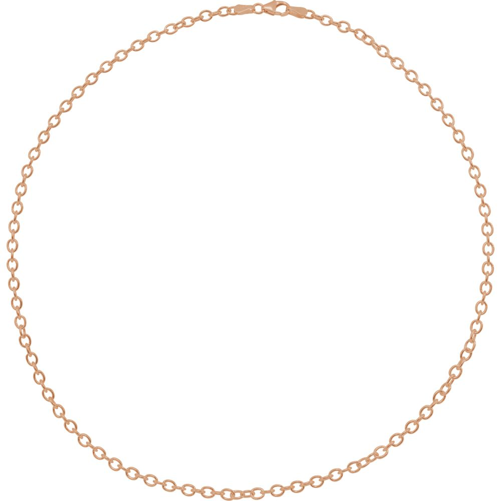 Alternate view of the 14k Rose Gold 3.25mm Solid Oval Cable Chain Necklace by The Black Bow Jewelry Co.