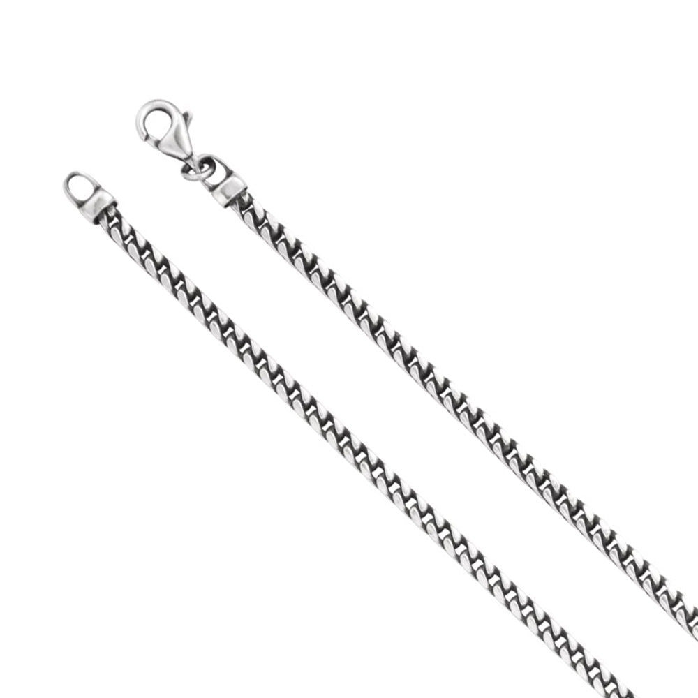 Antiqued Sterling Silver 3mm Solid Square Franco Chain Necklace - The Black Bow Jewelry Co.