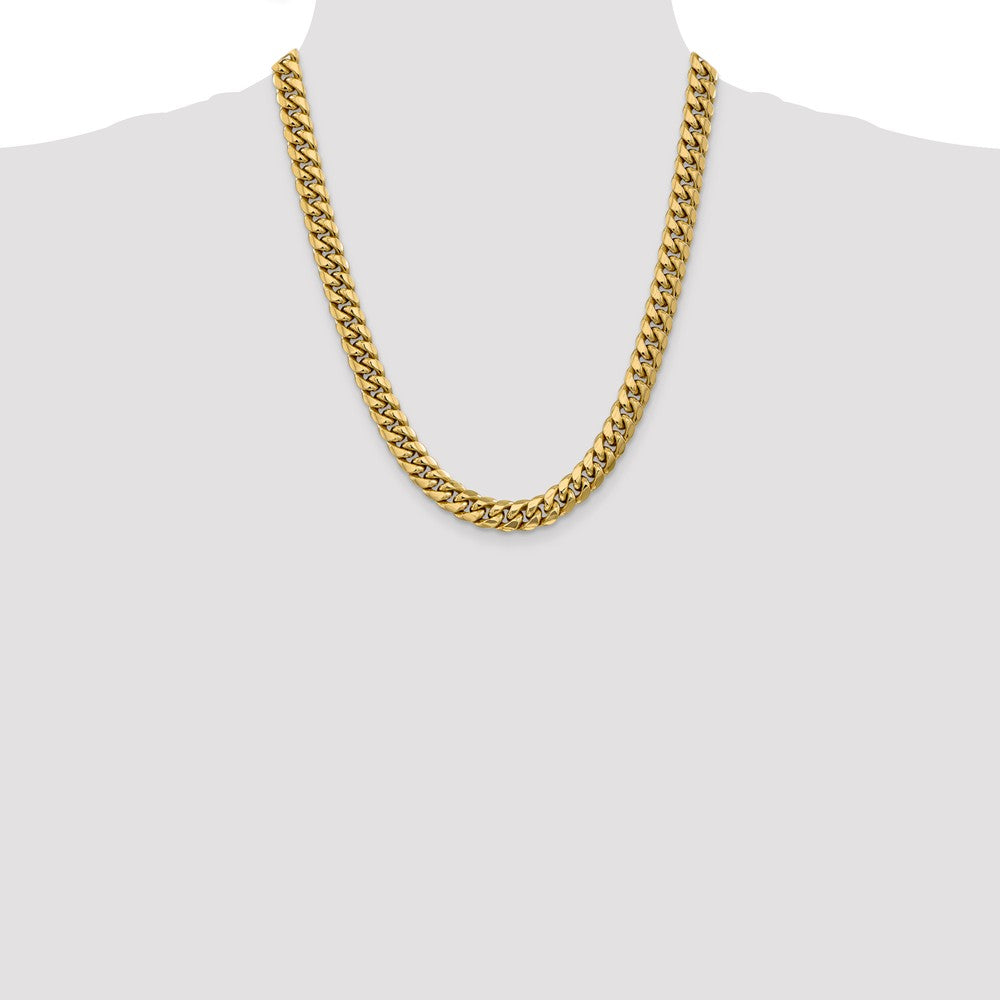 Alternate view of the Men's, 10k Yellow Gold 9.3mm Hollow Miami Cuban (Curb) Chain Necklace by The Black Bow Jewelry Co.