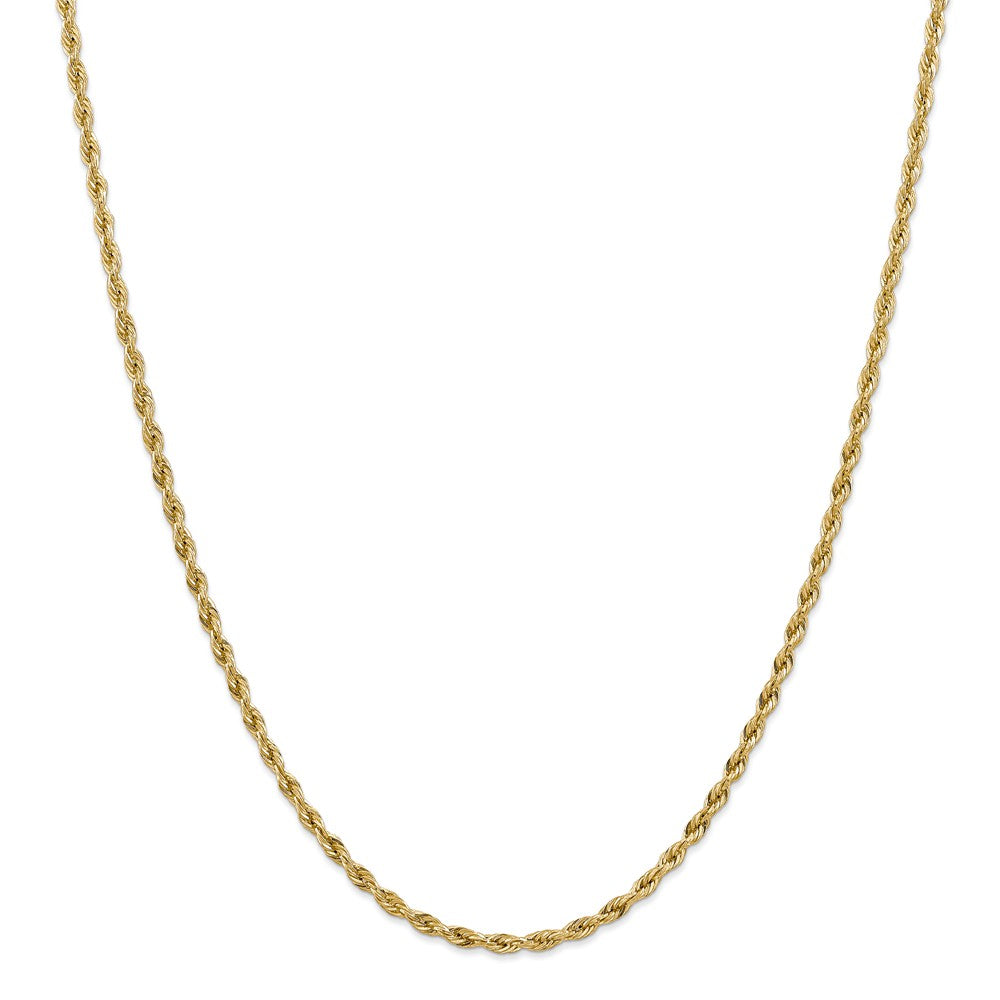 3mm 10k Yellow Gold Hollow Rope Chain Necklace