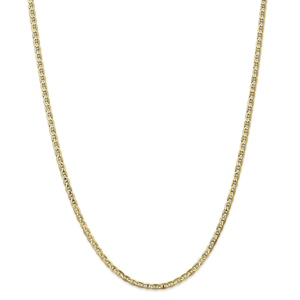 Alternate view of the 10k Yellow Gold 3mm Solid Concave Anchor Chain Necklace by The Black Bow Jewelry Co.