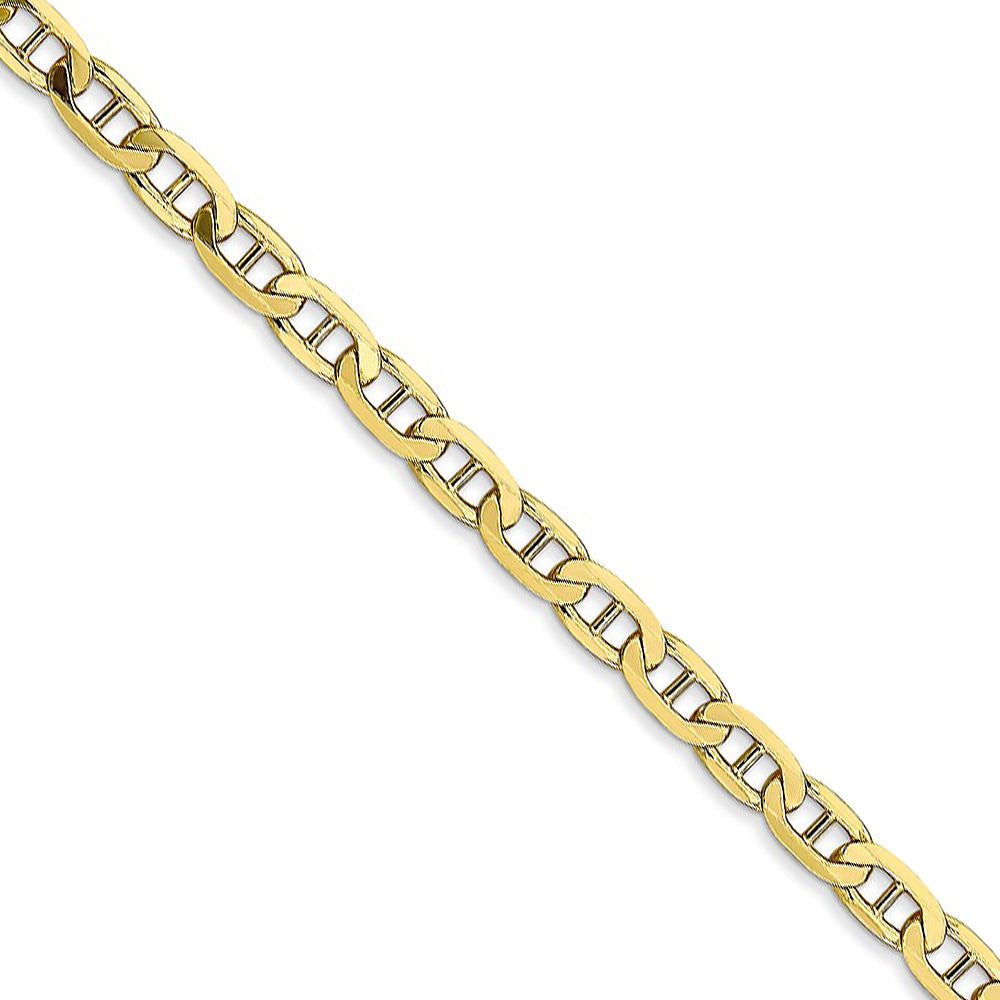 10k Yellow Gold 3.75mm Solid Concave Anchor Chain Necklace - The Black Bow Jewelry Co.