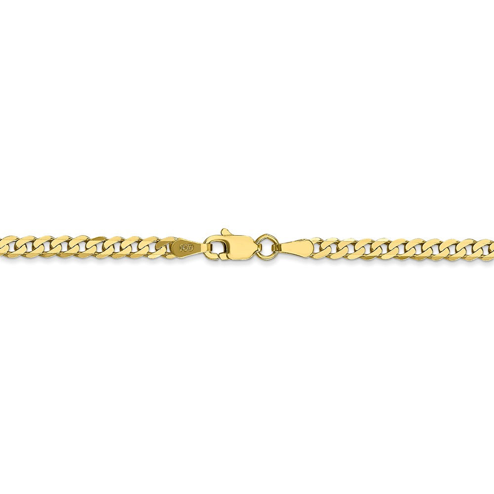 Alternate view of the 2.9mm 10k Yellow Gold Flat Beveled Curb Chain Necklace by The Black Bow Jewelry Co.
