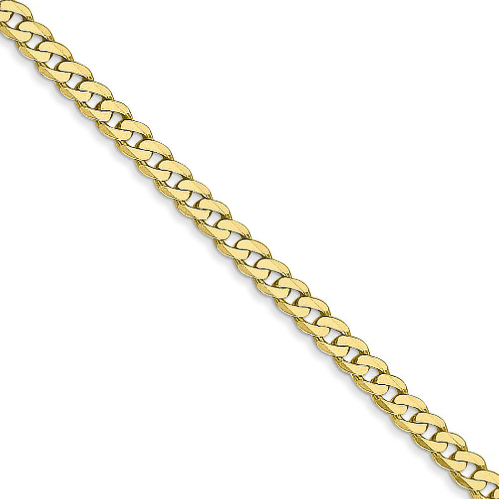 2.9mm 10k Yellow Gold Flat Beveled Curb Chain Necklace