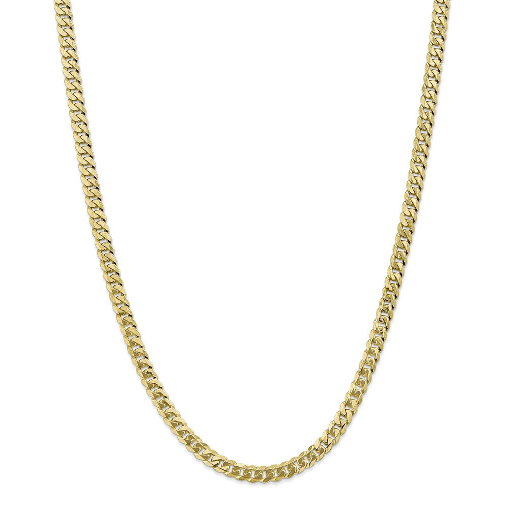 Alternate view of the 5.75mm 10k Yellow Gold Flat Beveled Curb Chain Necklace by The Black Bow Jewelry Co.