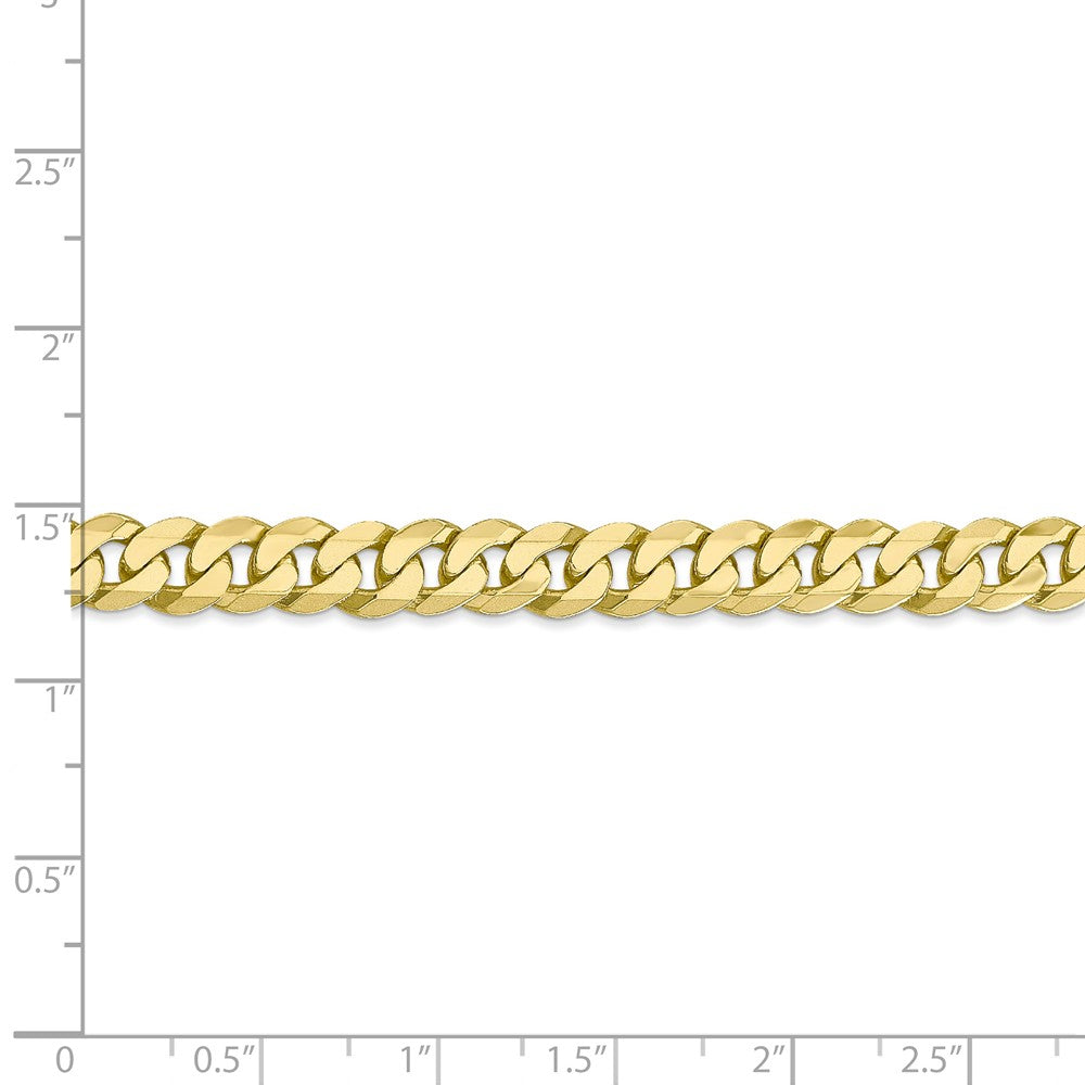 Alternate view of the Men's 6.75mm 10k Yellow Gold Flat Beveled Curb Chain Necklace by The Black Bow Jewelry Co.