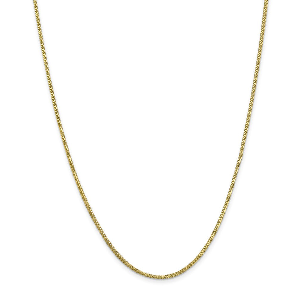 Alternate view of the 1.3mm 10k Yellow Gold Solid Franco Chain Necklace by The Black Bow Jewelry Co.