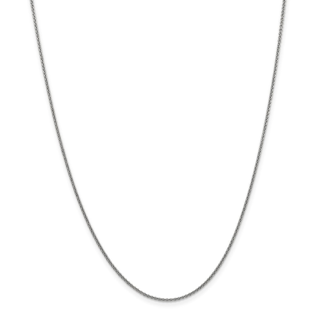 Alternate view of the 1.5mm 10k White Gold Solid Cable Chain Necklace by The Black Bow Jewelry Co.