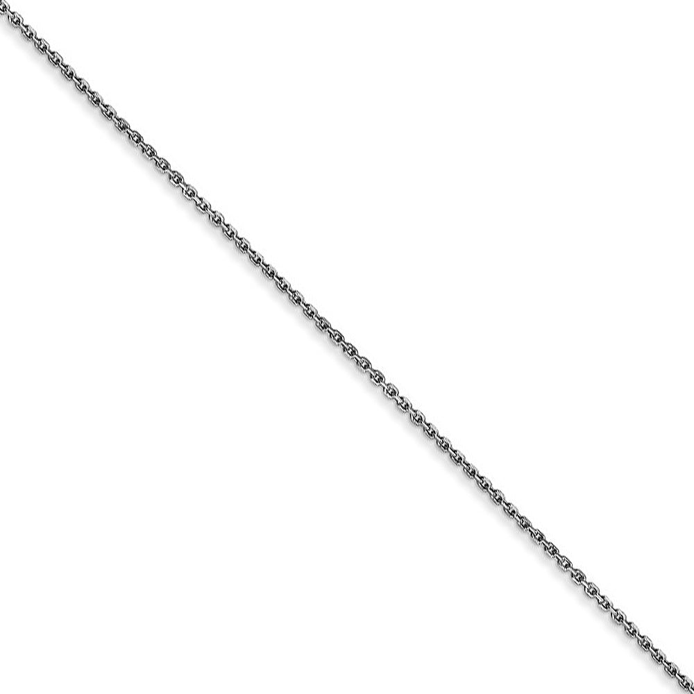 0.8mm 10k White Gold Diamond Cut Cable Chain Necklace