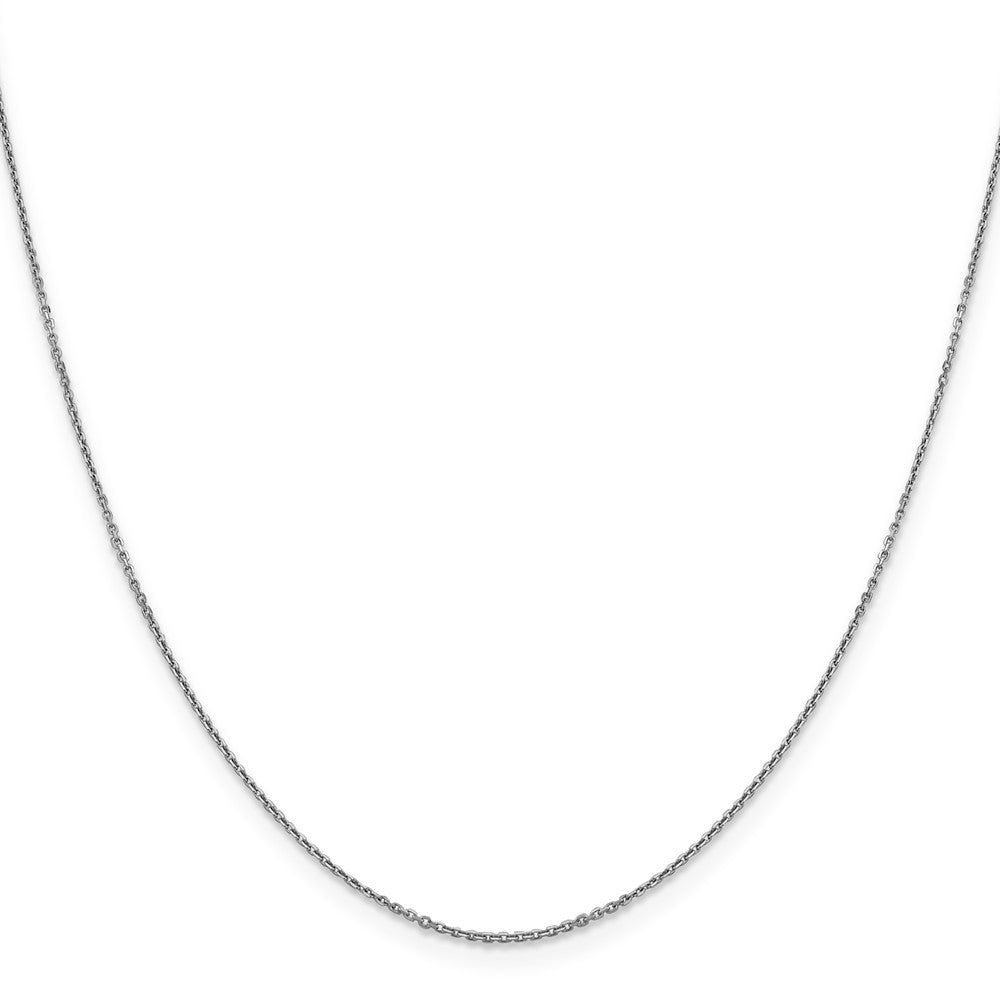 Alternate view of the 0.9mm 10k White Gold Diamond Cut Cable Chain Necklace by The Black Bow Jewelry Co.
