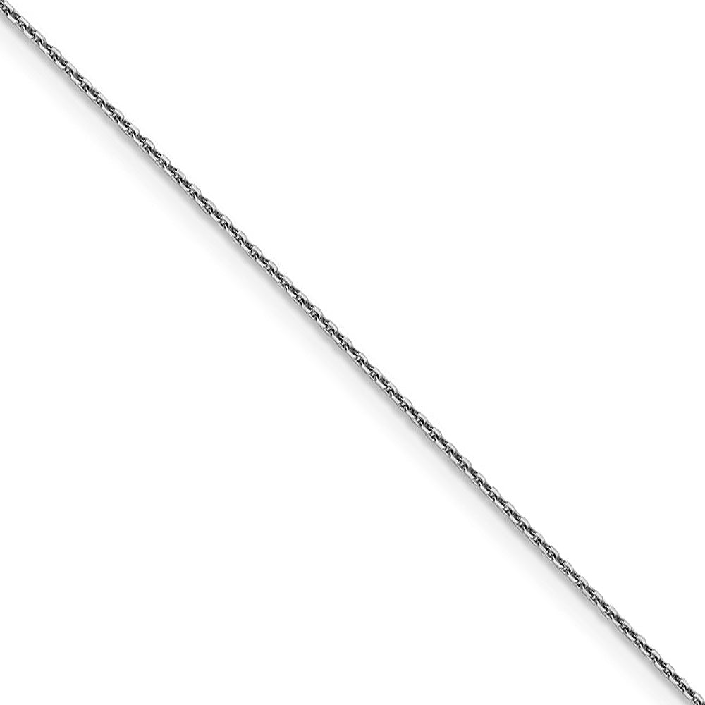 0.9mm 10k White Gold Diamond Cut Cable Chain Necklace